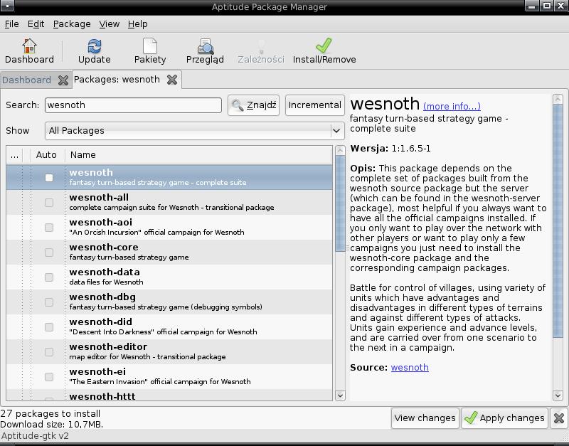 aptitude 0.6, graficzny interfejs użytkownika